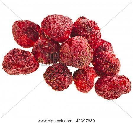 dry strawberry close up isolated on white