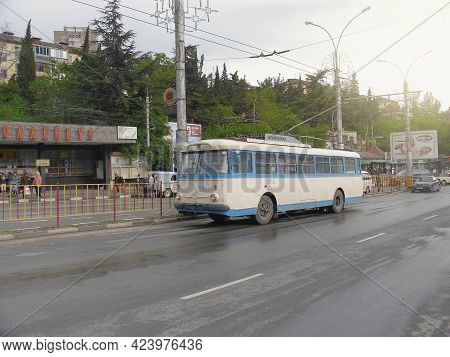 Yalta, Ukraine - May 07, 2008: Retro City Trolleybus On The City Street.
