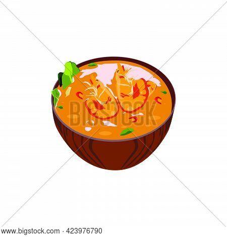 Illustration Tom Yum Soup Thai Food Design Isolated On White Background