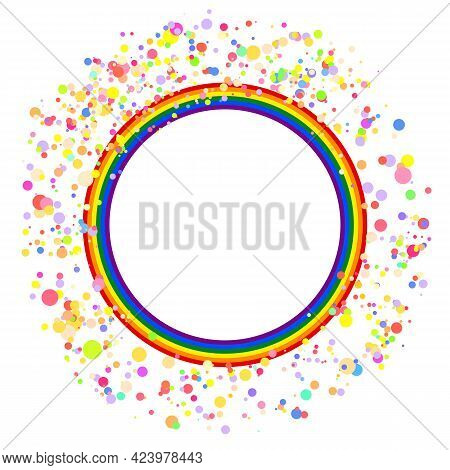 Flag Lgbt Icon, Round Frame With Confetti. Template Design, Vector Illustration. Love Wins. Lgbt Sym