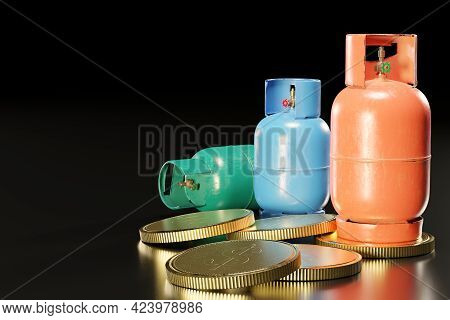 Lpg Or Propane Gas Tank In The Shape Of A Cylinder Placed On A Pile Of Gold Coins. The Concept Of Th
