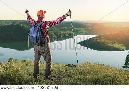 Man Tourist Standing Against Amazing Nature View. Traveling Lifestyle Adventure Concept Hiking With