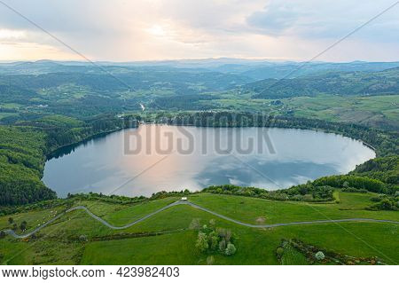 view of Lake Issarles with a motorhome in the foreground, Ardeche, Auvergne-Rhône-Alpes, France