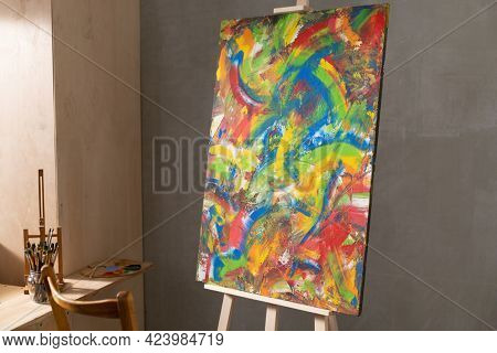 Paint brush and oil painting. Art still life and paintbrush painting in artist creative studio with painter tool