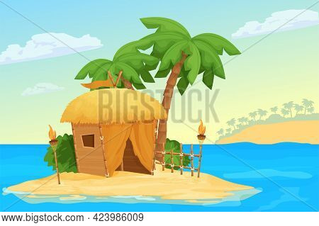 Seascape With Island, Hut Or Bungalow With Straw Roof And Bamboo Decorations, Palm Trees, Tiki Torch