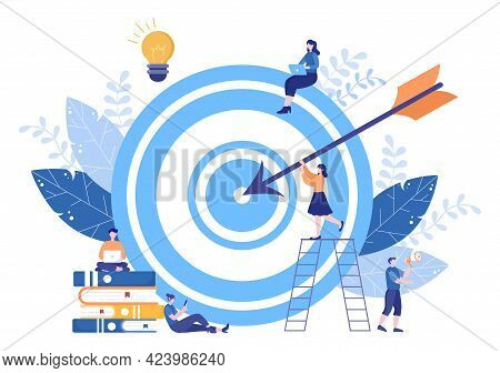 Business Vision And Target By Holding Binoculars Towards Career Success. Vector Illustration