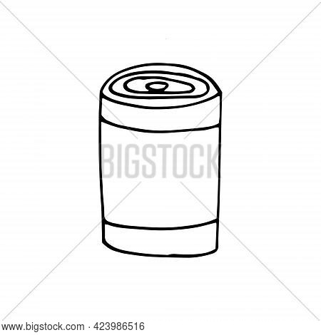 Tin Can Icon. Hand Drawn Doodle. Vector, Scandinavian, Nordic, Minimalism Monochrome Camp Canned Foo