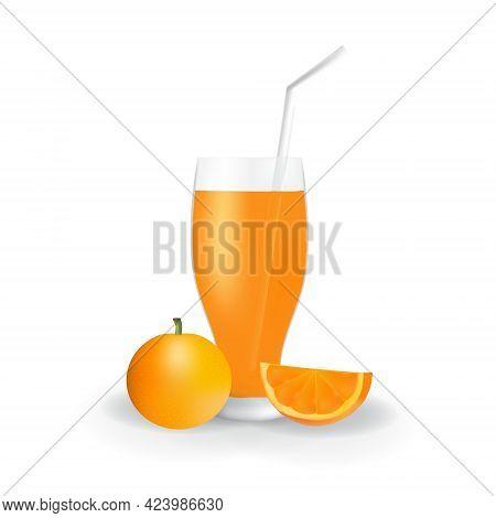 Realistic Orange Fruit Juice In Glass Straw Healthy Organic Drink Illustration