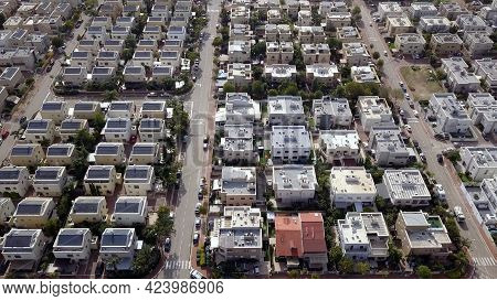 Neighborhoods Houses. Aerial View Of Residential Houses Suburb.