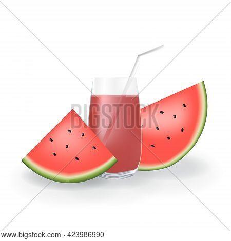 Realistic Watermelon Fruit Juice In Glass Straw Healthy Organic Drink Illustration