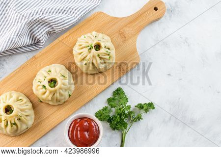 Traditional Oriental Food - Manti With Meat. The Concept Of Oriental Cuisine. Manti With Meat On A W