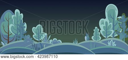 Flat Forest. Night Landscape With Trees. Horizontal. Illustration In A Simple Symbolic Style. A Funn