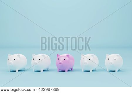 Piggy Bank Pink Colour Outstanding Among Piggy Bank White On Light Blue Background. Concept Of Save