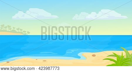 Tropical Seascape Beach With Sea, Sand In Cartoon Style. Horizontal Banner, Summer Vacation Exotic C