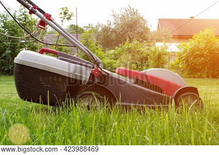 Cutting Grass A Lawn Mower On A Lush Green. Gardening And Landscaping Concept.