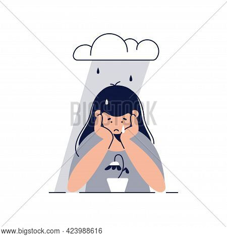 Depression, Sadness, Mental Illness Concept. Sad Unhappy Teenage Girl Feels Sad, Grieves Sitting Und