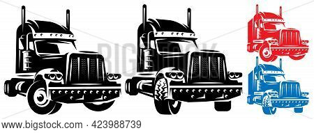 Vector Template With A Trailer For Long Trips. Truck Driver Theme. Color And Monochrome Illustration