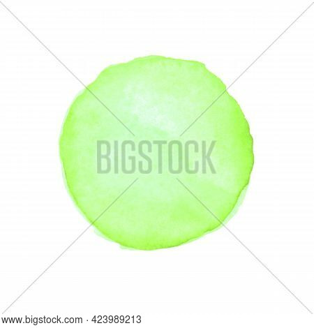 Abstract Watercolor Green Hand Drawn Round Spot. Beautiful Circle Design Elements. Color Trend. Colo