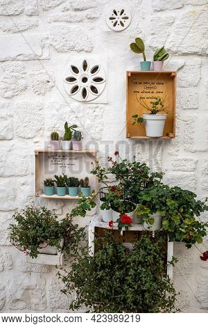 Polignano A Mare, Italy - September 17, 2019: Romantic And Evocative Poems Written On The Walls And
