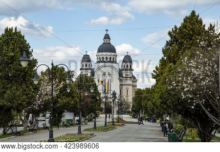 Targu Mures, Transylvania, Romania - April 23, 2021:  Avram Iancu Statue And Ascension Of The Lord,