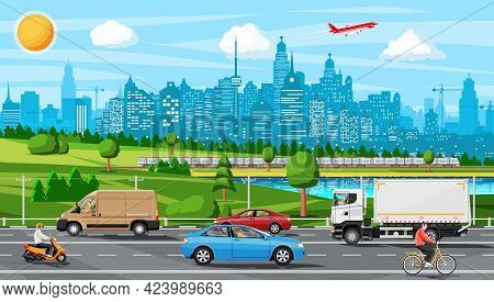 Suburb Road With Cargo Truck Trailer, Cars, Van And Motorbike. Road Over Hills, Forest Landscape. Ci
