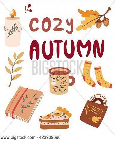 Cozy Autumn Items. Herbal Tea, Pumpkin Pie, Jazz Record, Book, Knitted Socks, Candle. Idea Of Cozine