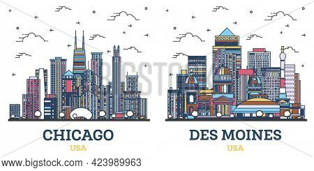 Outline Des Moines Iowa and Chicago Illinois USA City Skyline Set with Colored Modern Buildings Isolated on White. Cityscape with Landmarks.