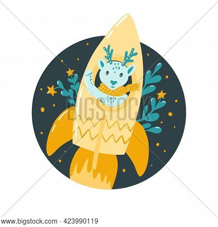 A Fawn In A Rocket Is Flying In Space. Childrens Illustration In The Scandinavian Style. Sticker, Ch