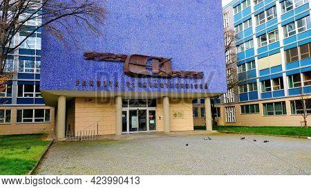 Prague, Czech Republic - April 13, 2021: Main Entrance Of Faculty Of Mechanical Engineering Of Czech