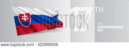 Slovakia Happy Independence Day Greeting Card, Banner Vector Illustration