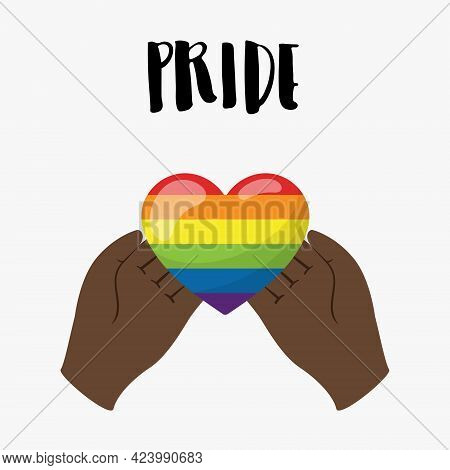 Vertical Poster. The Heart Of The Rainbow's Lgbt Colors Lies In Black Hands. Hands Hold The Heart. A
