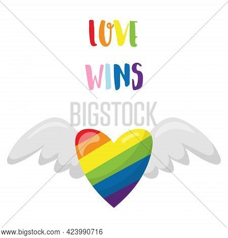 A Sticker With The Words Love Wins. A Heart In The Colors Of The Lgbt Rainbow Flies On Its Wings. A