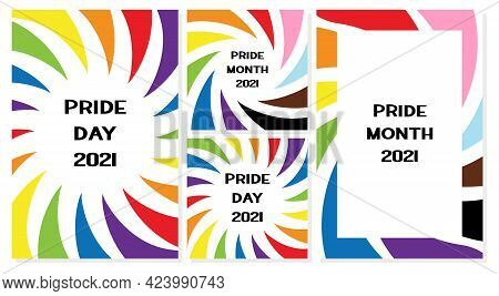 A Set Of Vertical And Square Poster Templates With Pride Colors On A White Background. Lgbt Pride Mo
