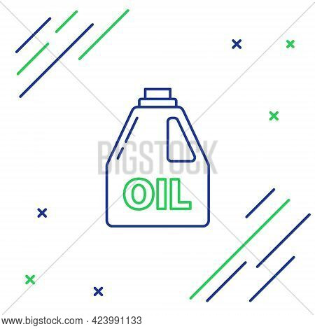 Line Plastic Canister For Motor Machine Oil Icon Isolated On White Background. Oil Gallon. Oil Chang