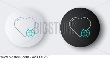Line Heart Icon Isolated On Grey Background. Romantic Symbol Linked, Join, Passion And Wedding. Vale