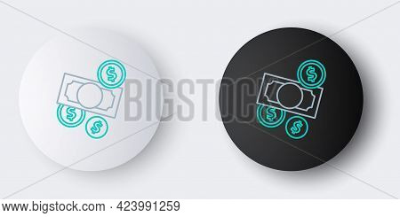 Line Stacks Paper Money Cash And Coin Money With Dollar Symbol Icon Isolated On Grey Background. Mon