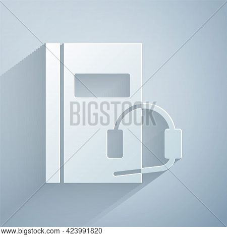 Paper Cut Audio Book Icon Isolated On Grey Background. Book With Headphones. Audio Guide Sign. Onlin