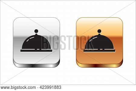 Black Covered With A Tray Of Food Icon Isolated On White Background. Tray And Lid. Restaurant Cloche