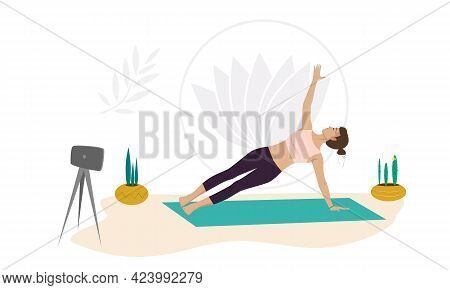 A Girl Yoga Instructor Shows Exercises Online. Healthy Lifestyle. Exercise On A Yoga Mat. Vector Ill