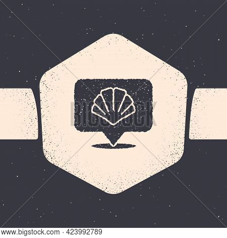 Grunge Scallop Sea Shell Icon Isolated On Grey Background. Seashell Sign. Monochrome Vintage Drawing
