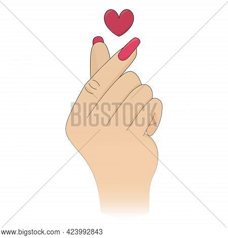 Korean Heart. Finger Gesture. Expressing Love With A Romantic Gesture. Colored Vector Illustration.
