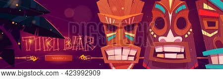 Tiki Bar Cartoon Web Banner With Tribal Masks, Burning Torches, Palm Leaves And Push Button. Beach H