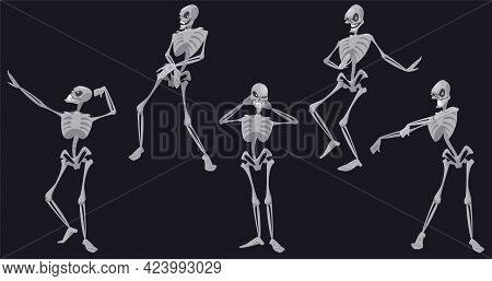 Skeletons Dance, Funny Halloween Or Mexican Dia De Los Muertos Dead Characters Dancing, Skulls And B