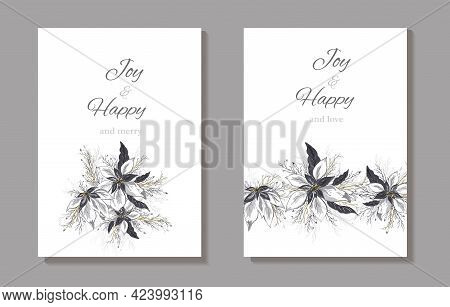 A Set Of Card, Invitations, Banners Made Of Poinsettia Flower. Hand-drawn Realistic Bouquets In Gold
