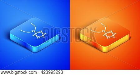 Isometric Star Of David Necklace On Chain Icon Isolated On Blue And Orange Background. Jewish Religi