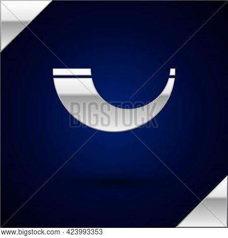 Silver Traditional Ram Horn, Shofar Icon Isolated On Dark Blue Background. Rosh Hashanah, Jewish New
