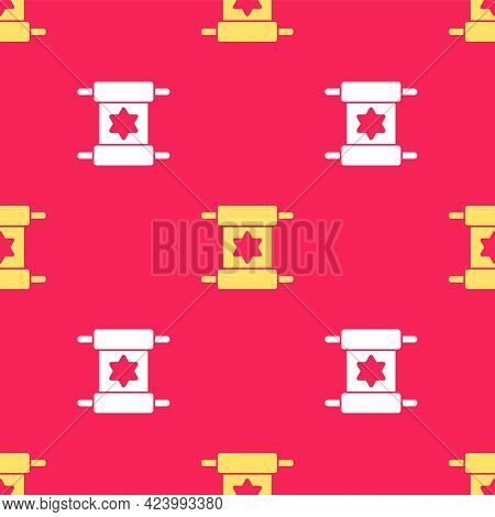 Yellow Torah Scroll Icon Isolated Seamless Pattern On Red Background. Jewish Torah In Expanded Form.