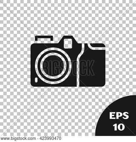 Black Photo Camera Icon Isolated On Transparent Background. Foto Camera Icon. Vector