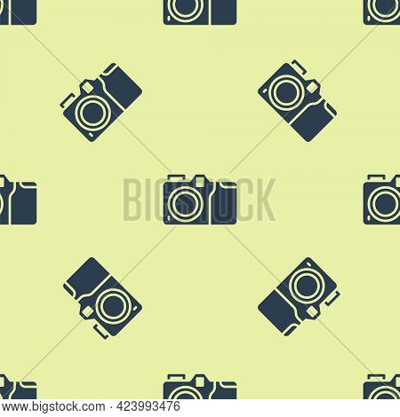 Blue Photo Camera Icon Isolated Seamless Pattern On Yellow Background. Foto Camera Icon. Vector