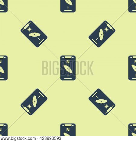 Blue Compass Screen Apps On Smartphone For Navigation Icon Isolated Seamless Pattern On Yellow Backg
